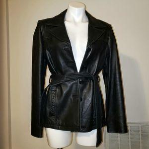 Leather belted jacket, mid-length,vintage Wilson's